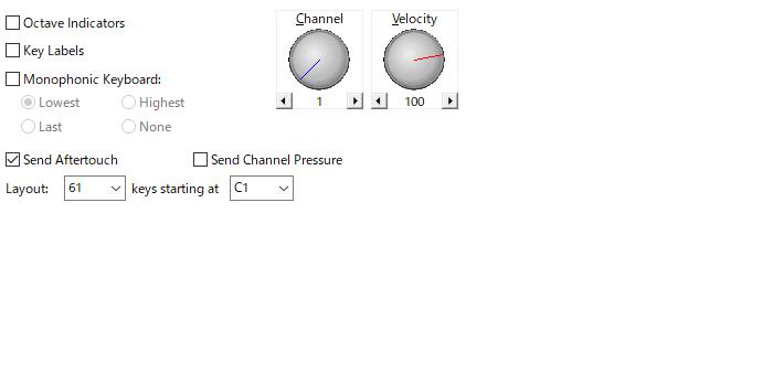 VSTHOST鍵盤設定画面